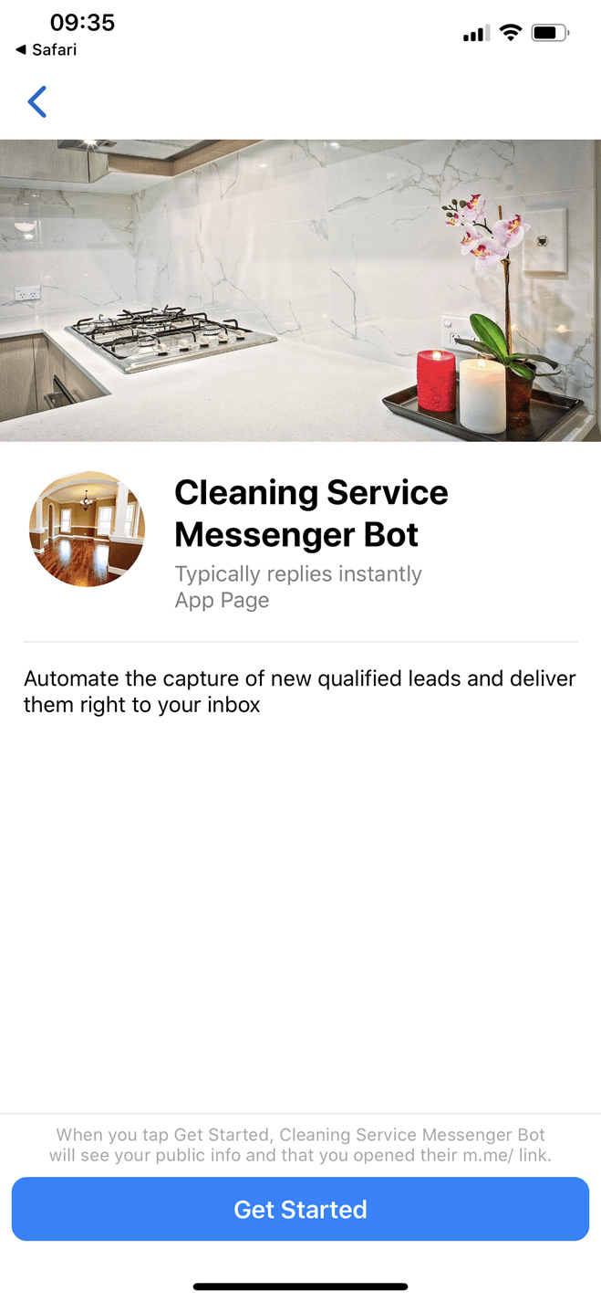 Cleaning Service Bot for Messenger