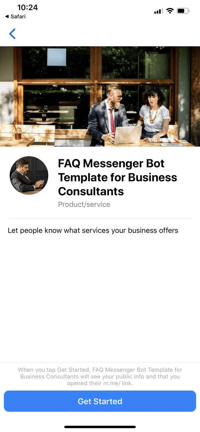 FAQ Messenger Bot Template for Business Consultants