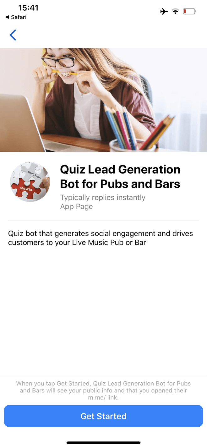 Quiz Bot per pub e bar per Lead Generation