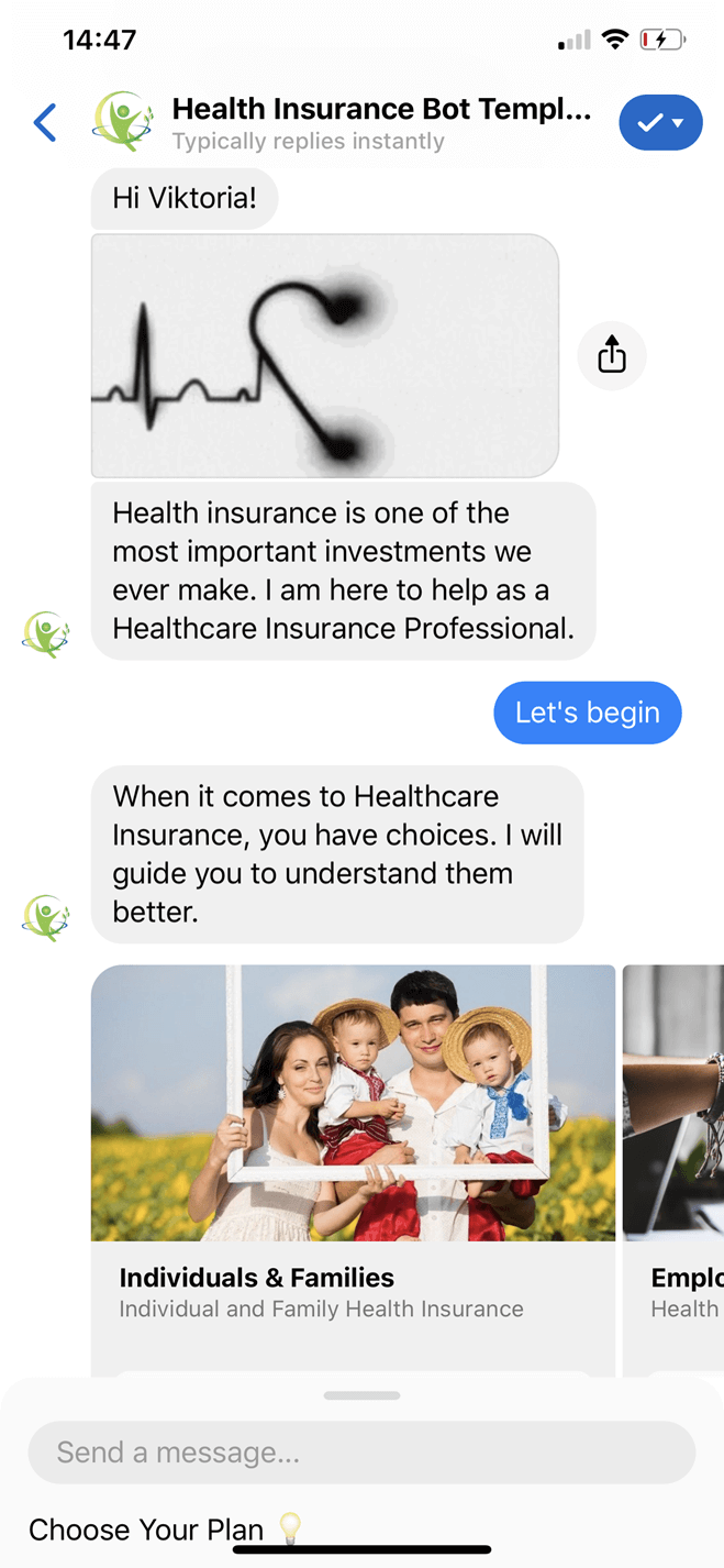 Healthсare Insurance Bot Template bot screenshot