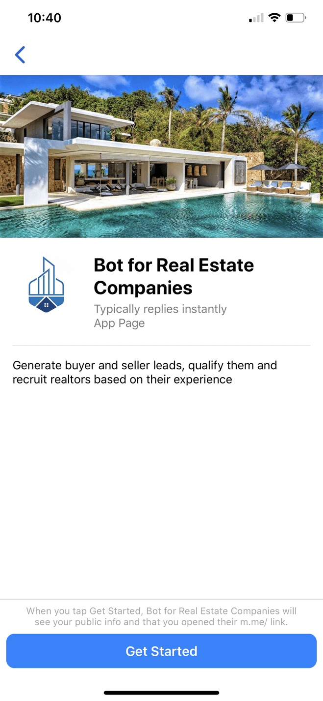 All-in-One Bot for Real Estate Companies Messenger bot screenshot