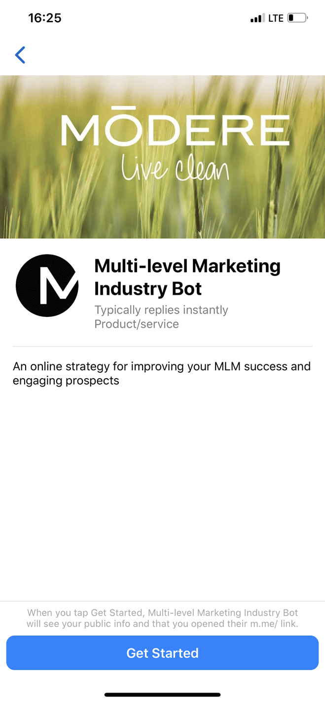 Chatbot de la industria de marketing multinivel