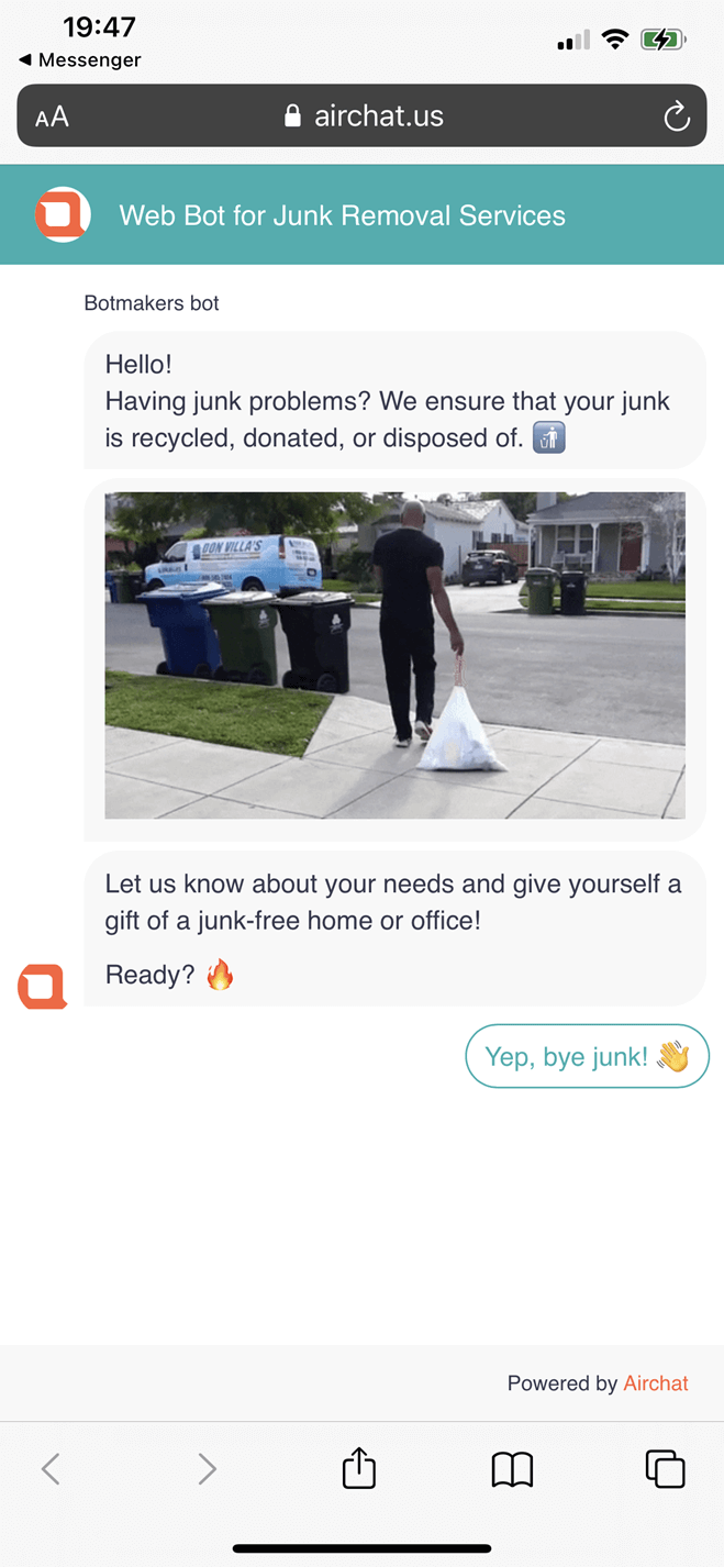 Web Bot for Junk Removal Services