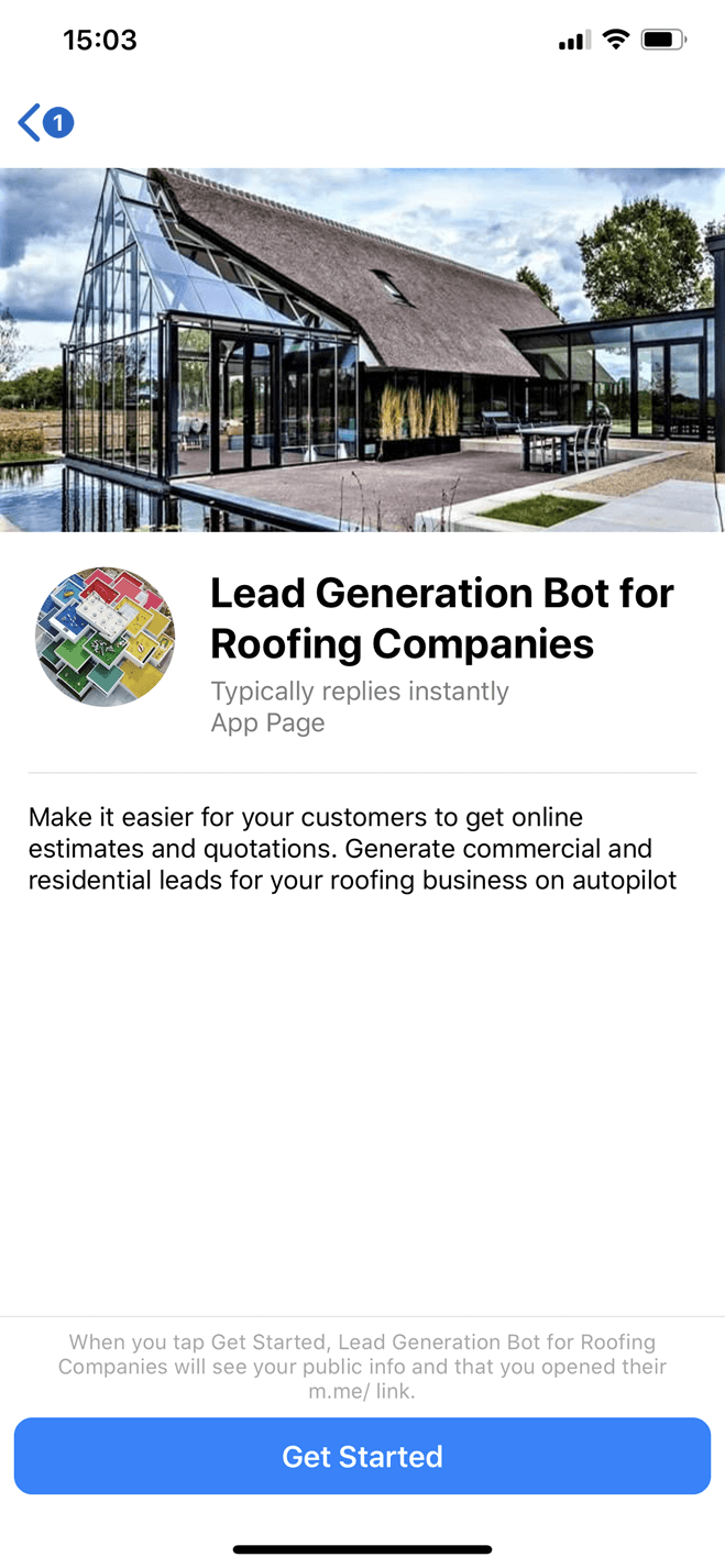Roofing Company bot screenshot