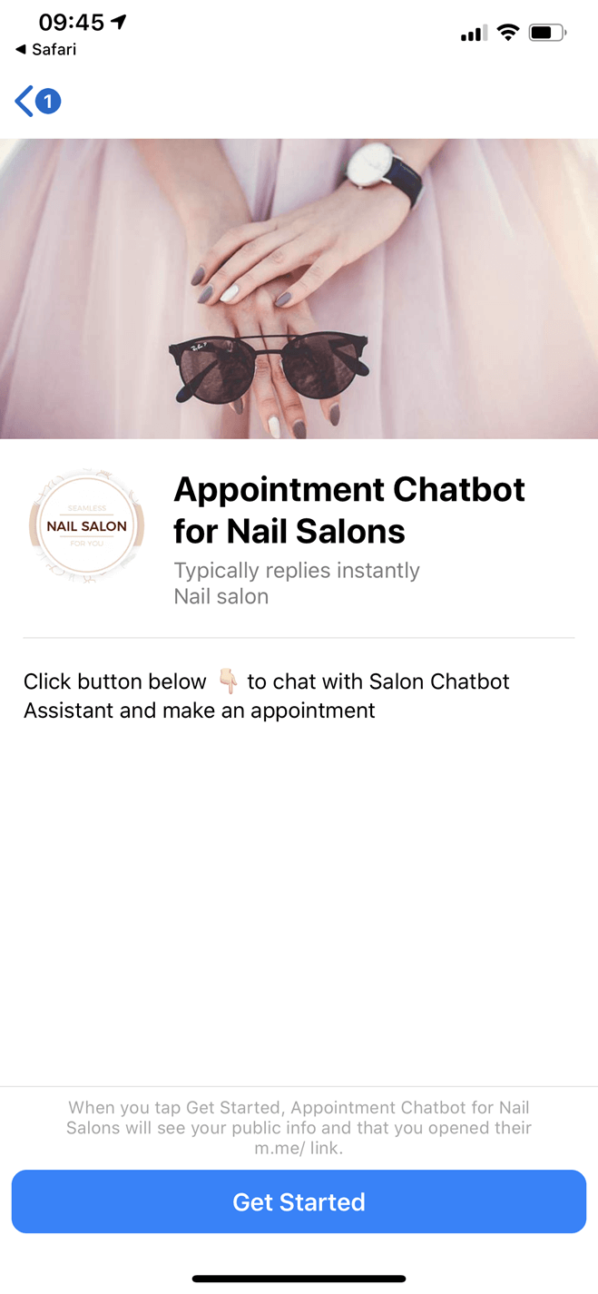 Nail Salon Appointment Bot for Website and Facebook