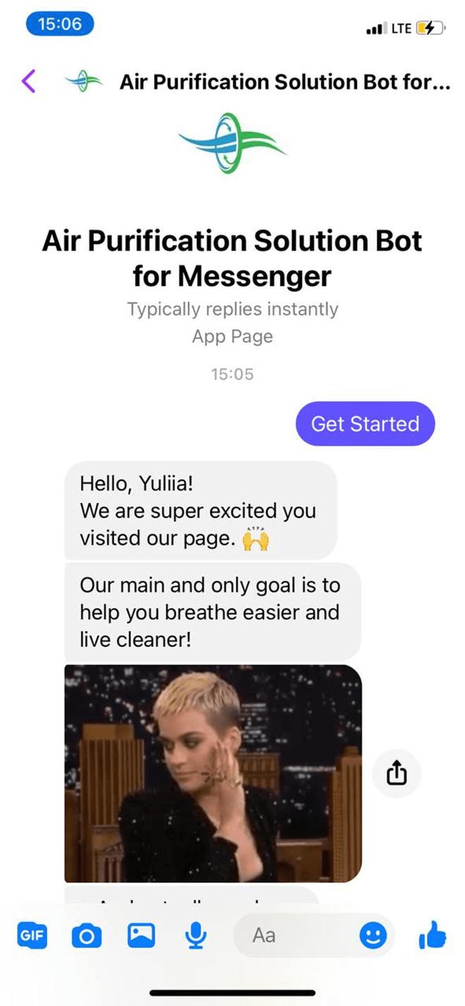 Air Purification Solution Bot for Messenger bot screenshot