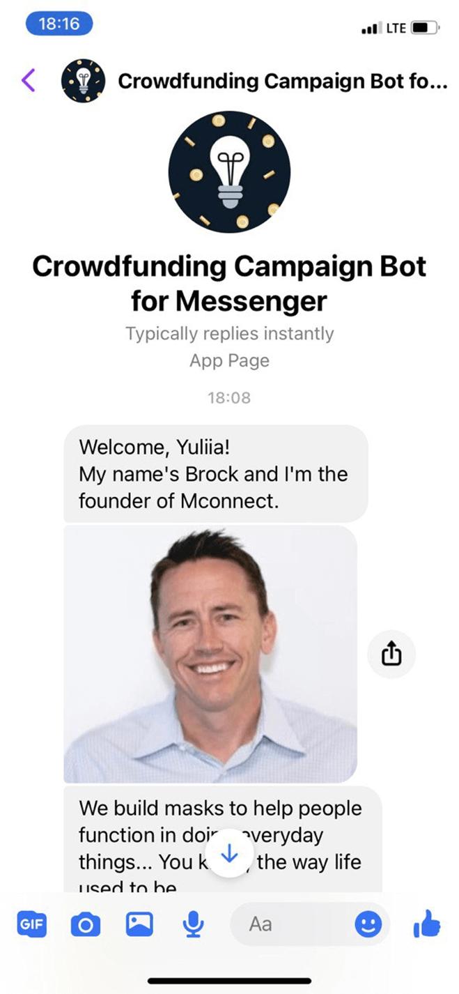 Crowdfunding campaign bot screenshot