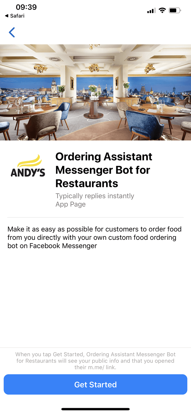 Ordering Assistant Messenger Bot for Restaurants