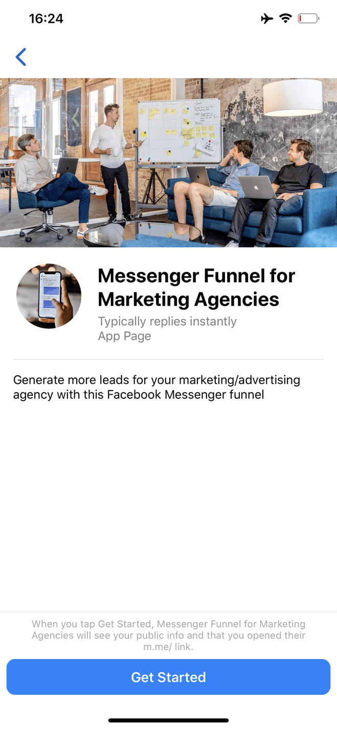 Messenger Marketing Agency Funnel bot screenshot