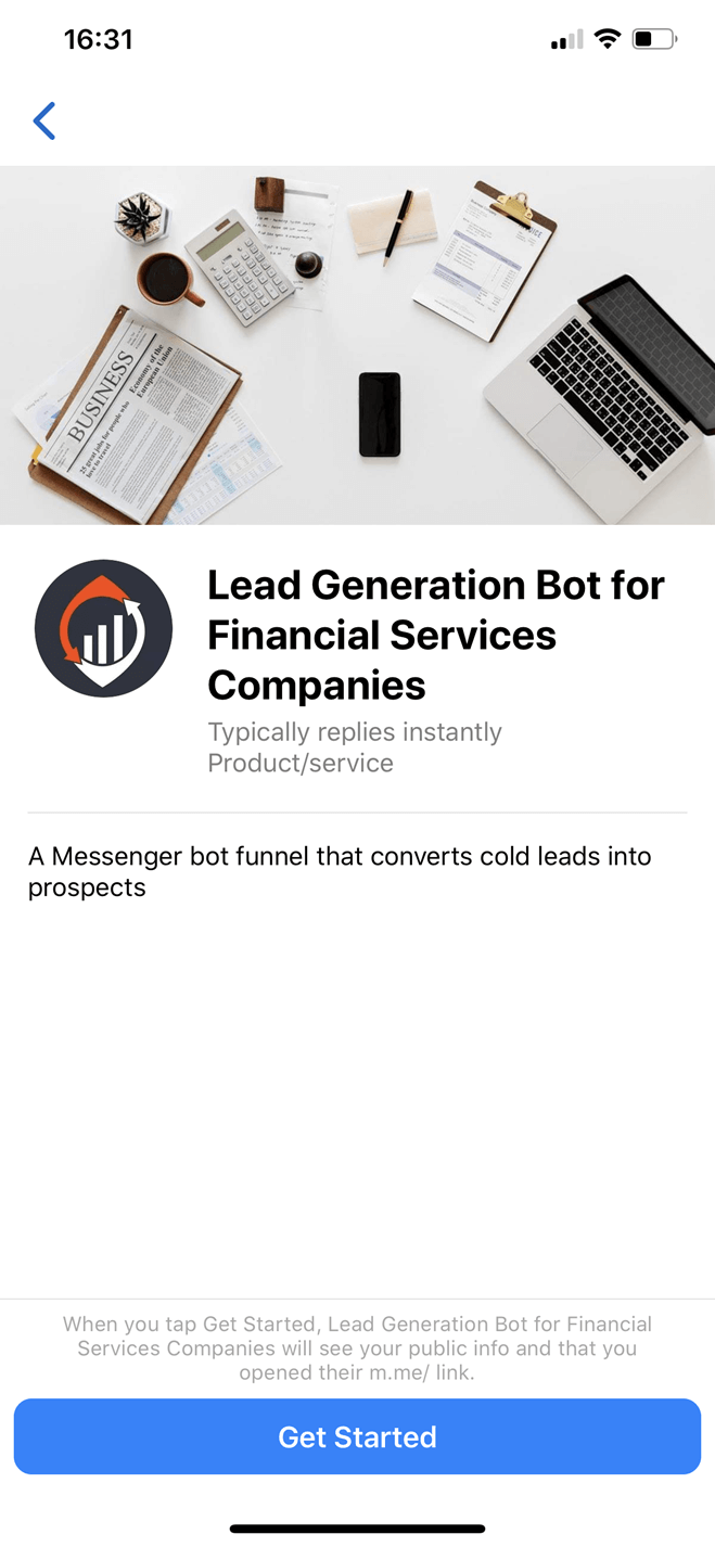 Full-Service Accounting Firm bot screenshot