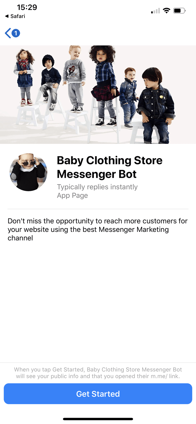 Baby Clothing Store Messenger bot screenshot