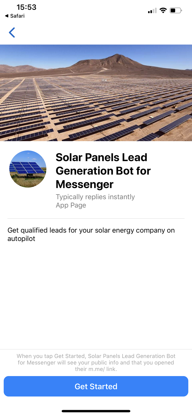 Solar Panels Lead Generation bot screenshot