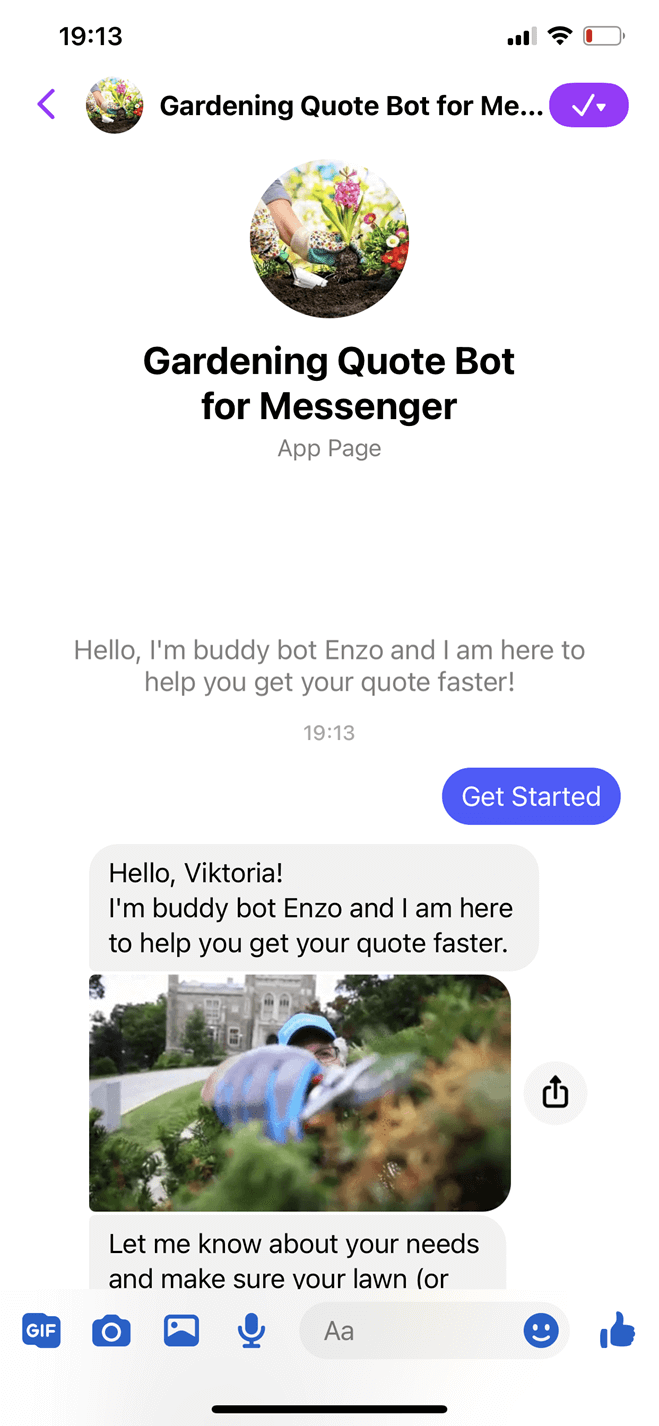 Gardening Quote Bot for Messenger