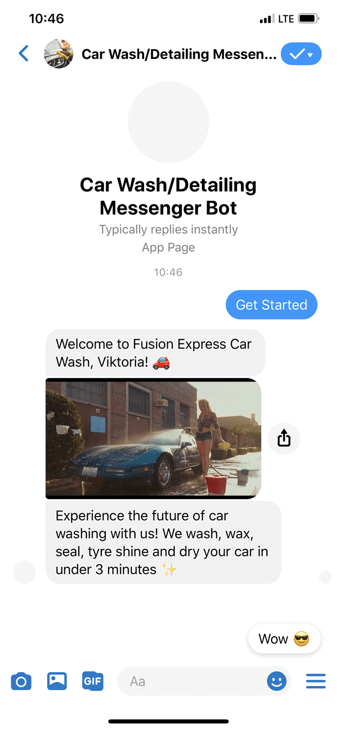 Car Wash/Detailing Messenger Bot