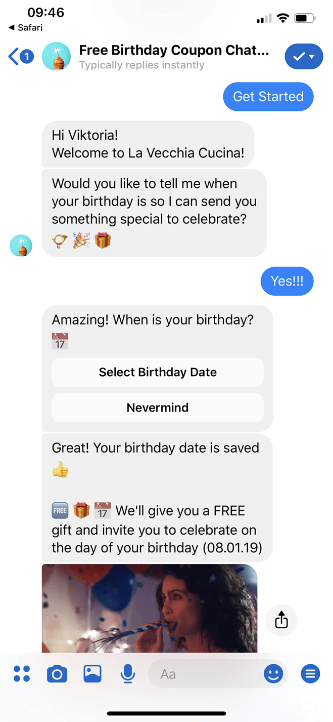 Free Birthday Coupon Bot for Restaurants