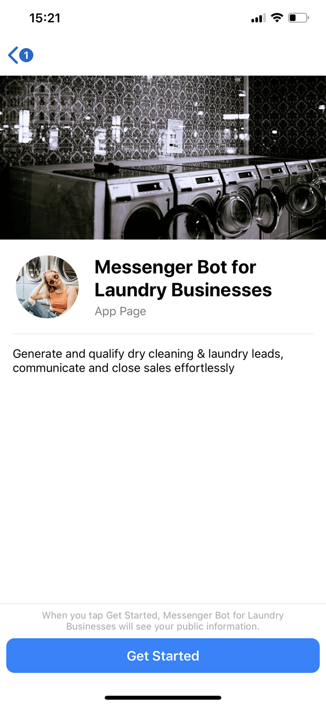 Laundry business Messenger bot screenshot