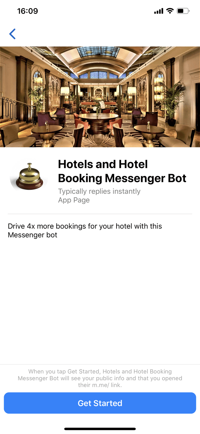 Hotel Booking Messenger bot screenshot
