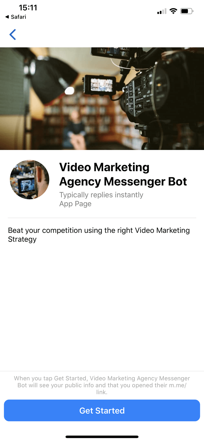 Video Marketing Agency Messenger bot screenshot