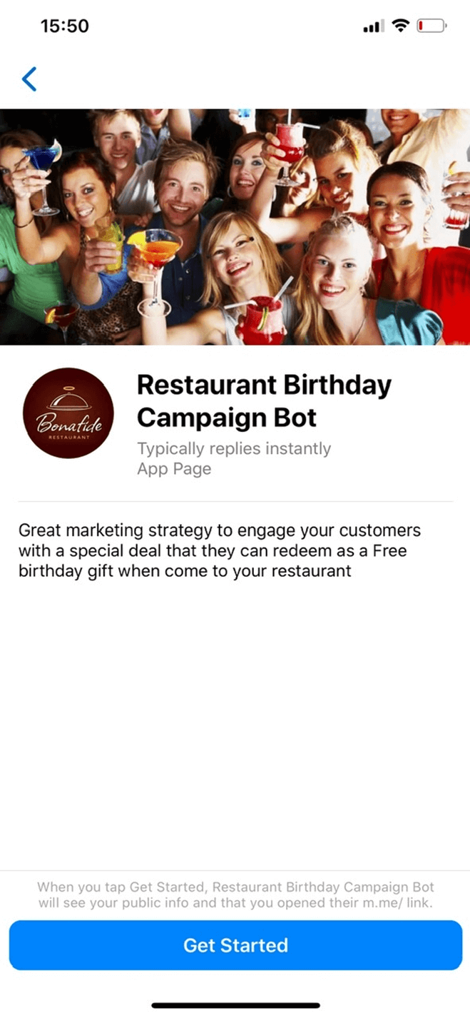 Birthday Campaign Bot for Restaurants