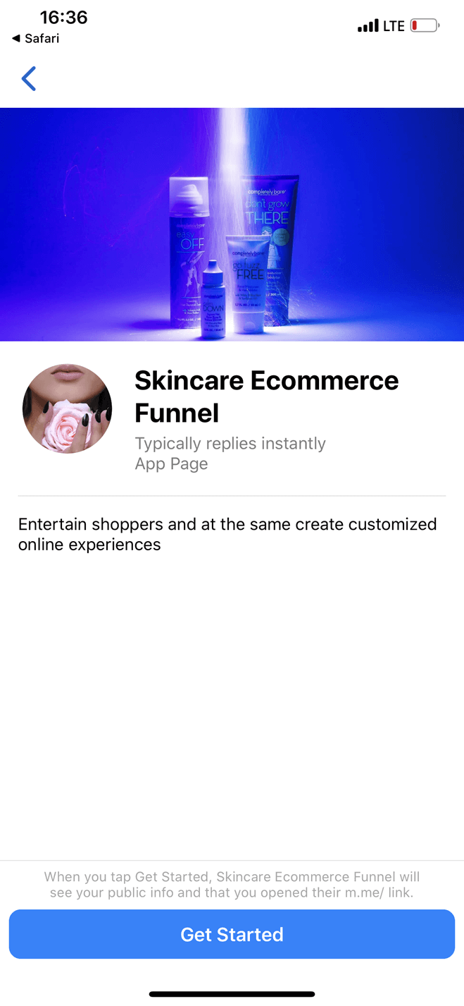 Skincare eCommerce Quiz Funnel Messenger bot screenshot