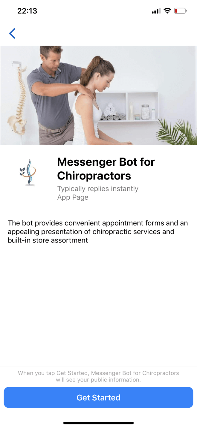 Chiropractor Messenger bot screenshot