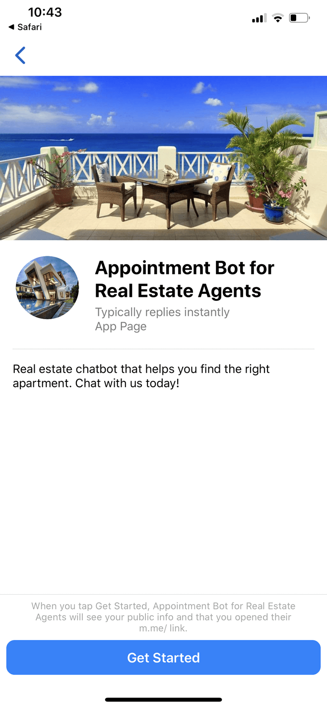 Appointment bot template for real estate agents bot screenshot