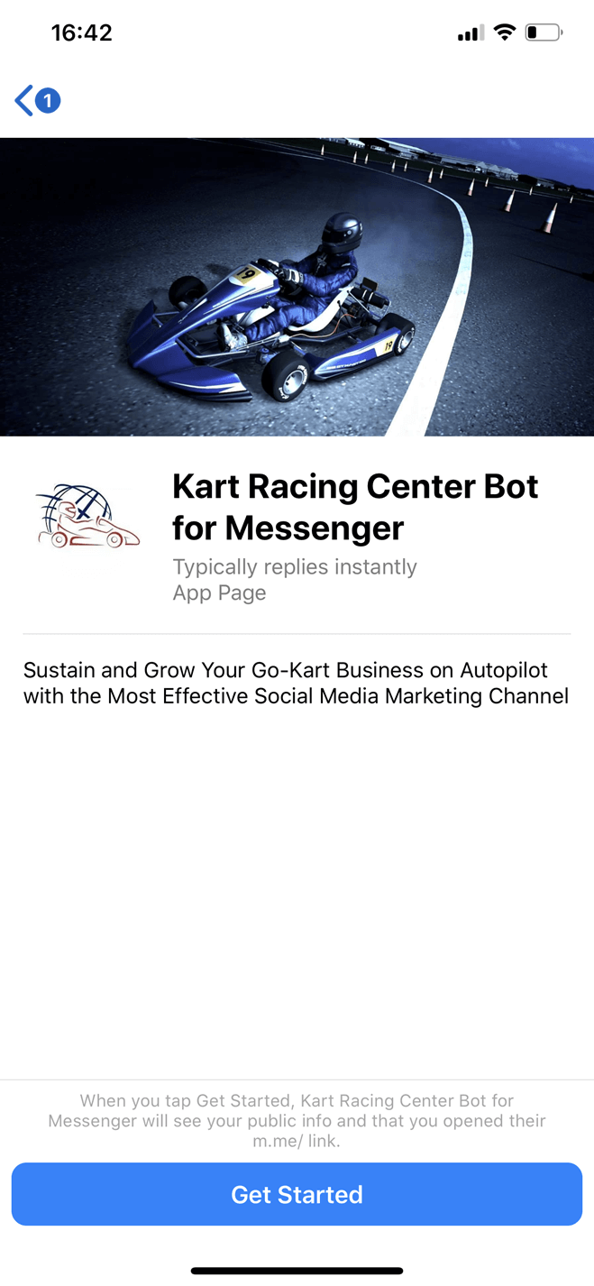 Kart Racing Center bot screenshot