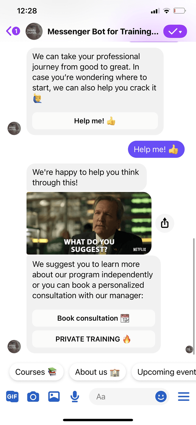 Messenger Bot for Training Organizations