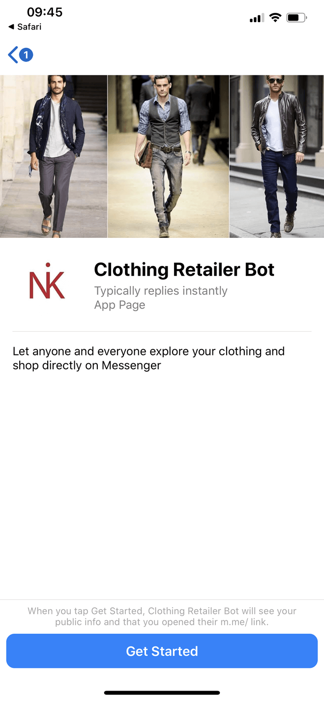 Clothing Retailer Messenger bot screenshot