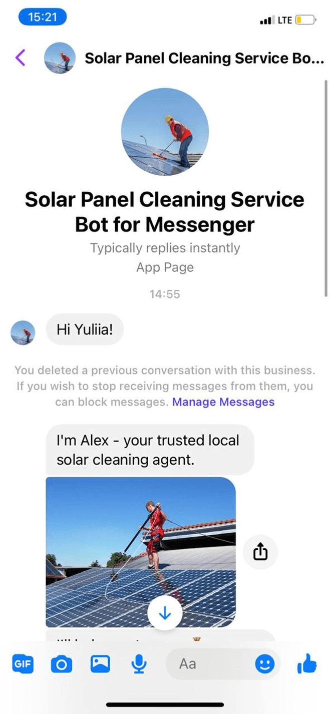 Solar panel cleaning service bot screenshot