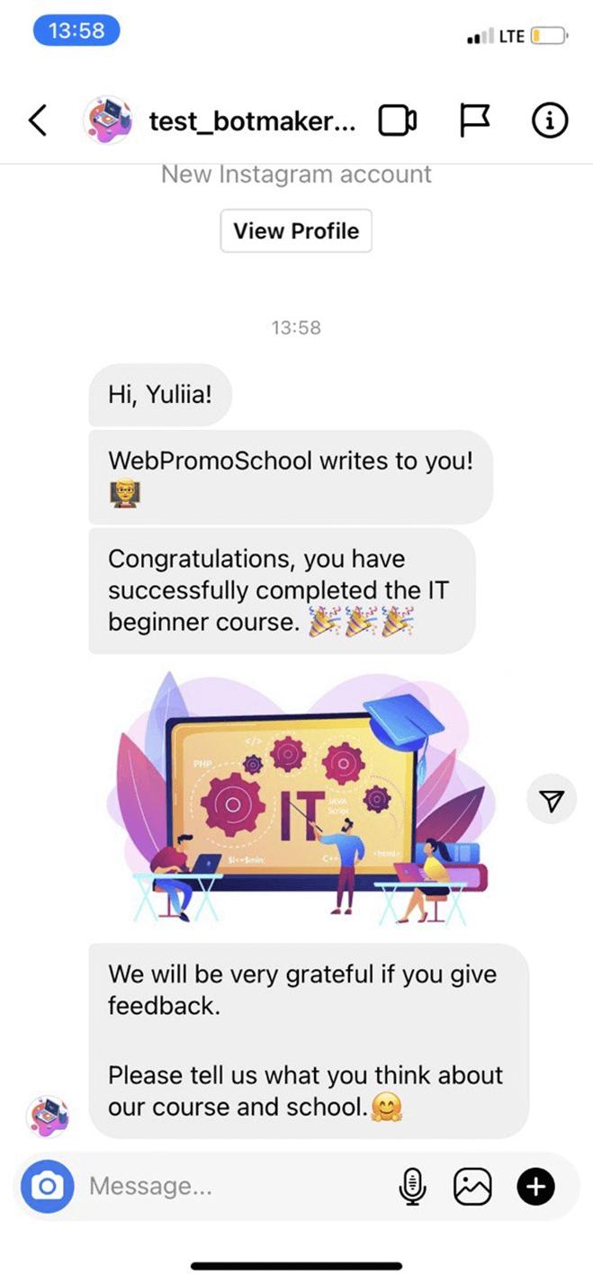 Instagram Reviews Bot for Online Courses bot screenshot