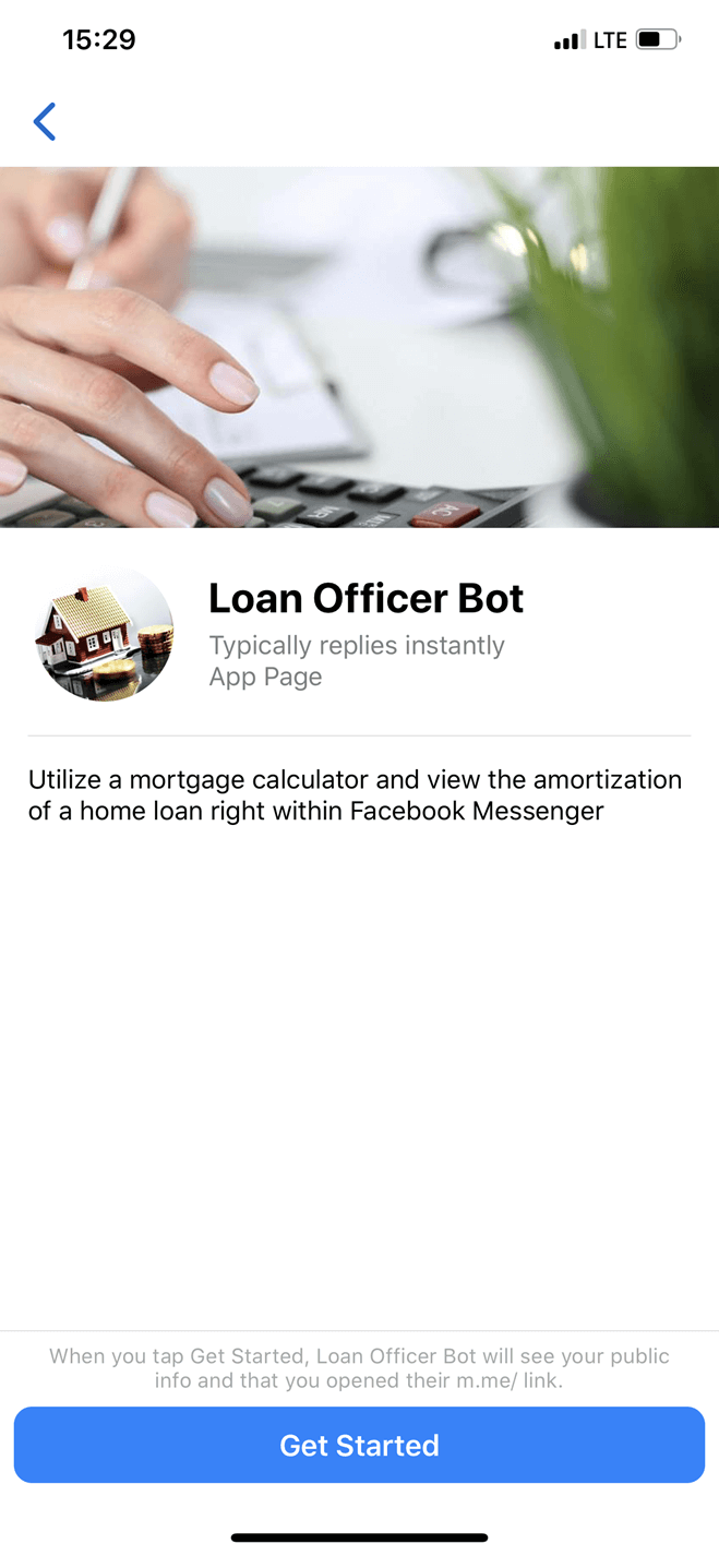 Loan Calculator bot screenshot