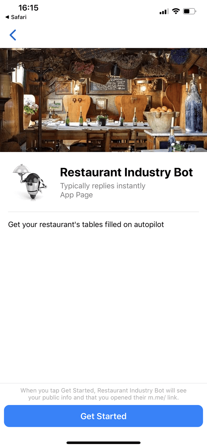Restaurant Industry Bot for Messenger