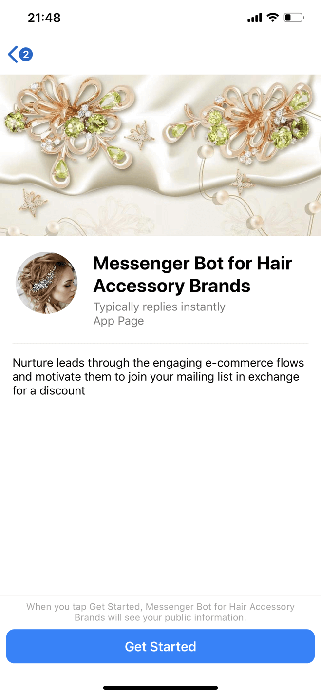 Hair accessory brand Messenger bot screenshot