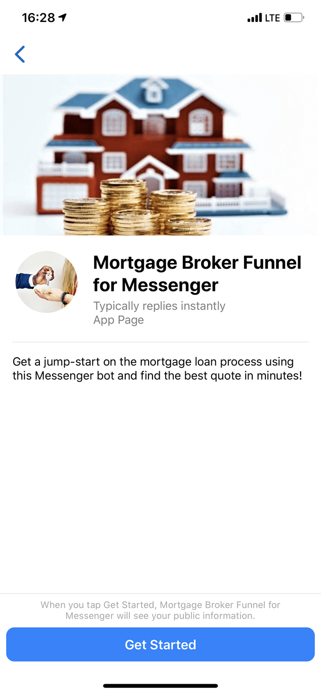 Funnel per broker mutui per Messenger