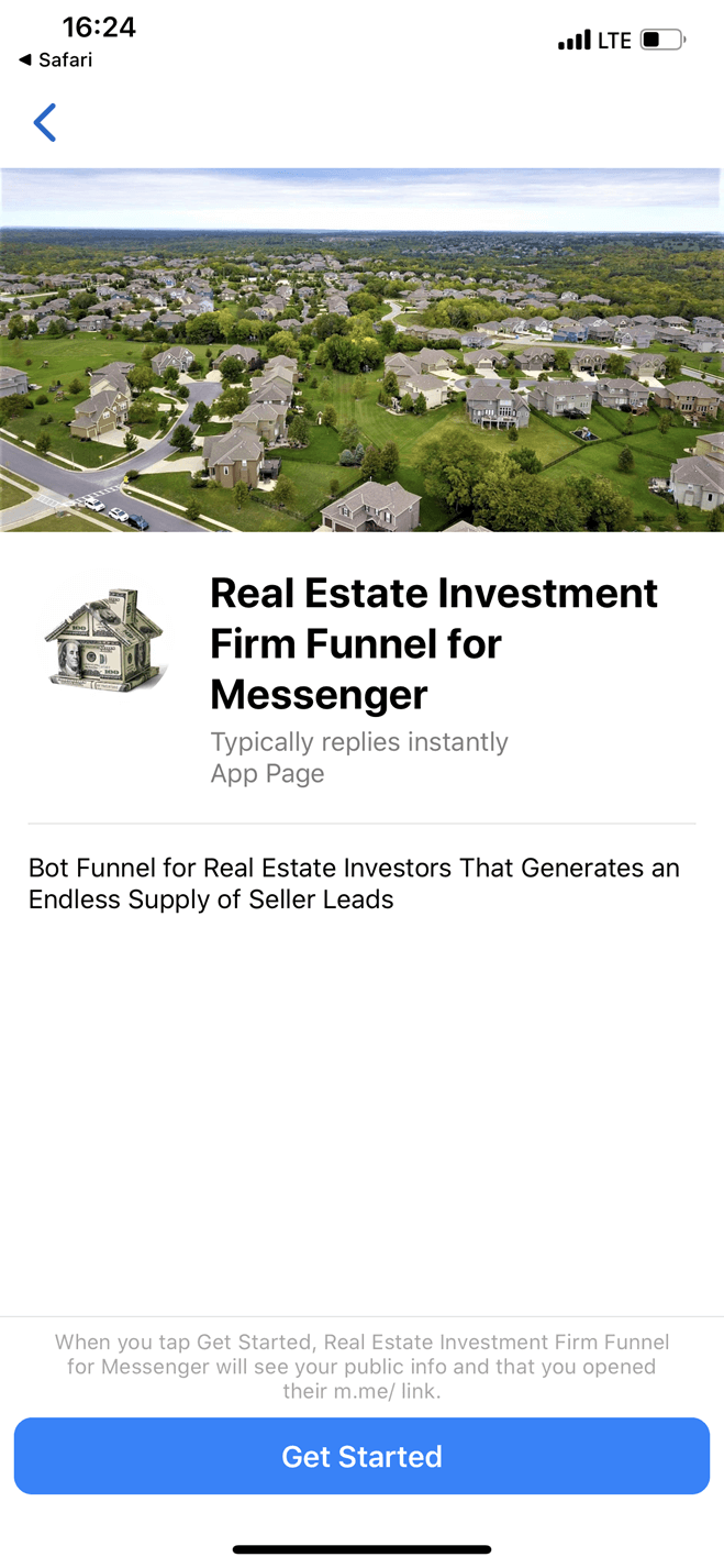 Real Estate Investor Funnel for Messenger bot screenshot