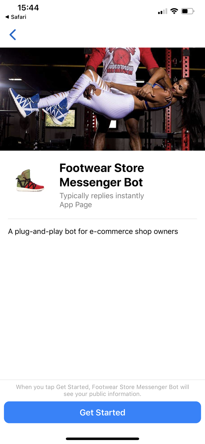 Footwear Store Bot for Messenger