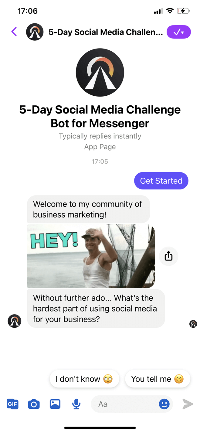 5-Day Social Media Challenge Bot for Messenger