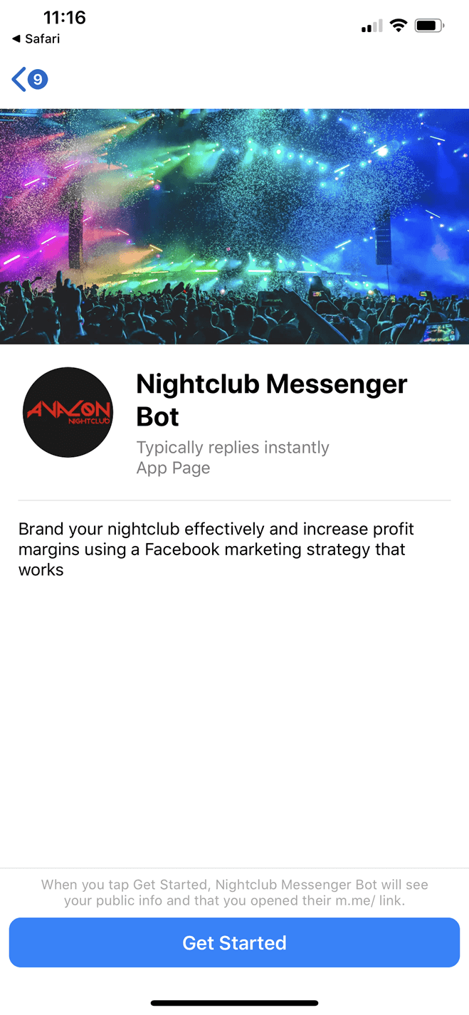 Nightclub bot screenshot