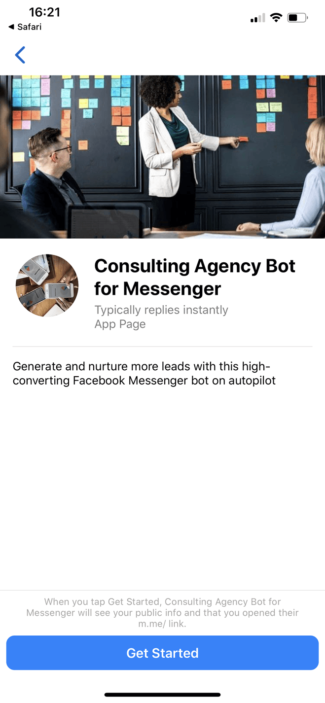 Consulting Agency bot screenshot