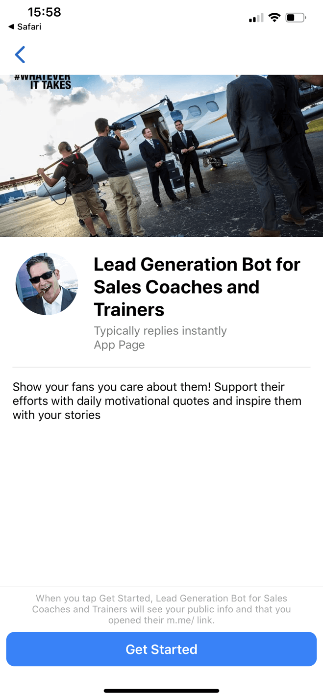 Influencer like Grant Cardone bot screenshot