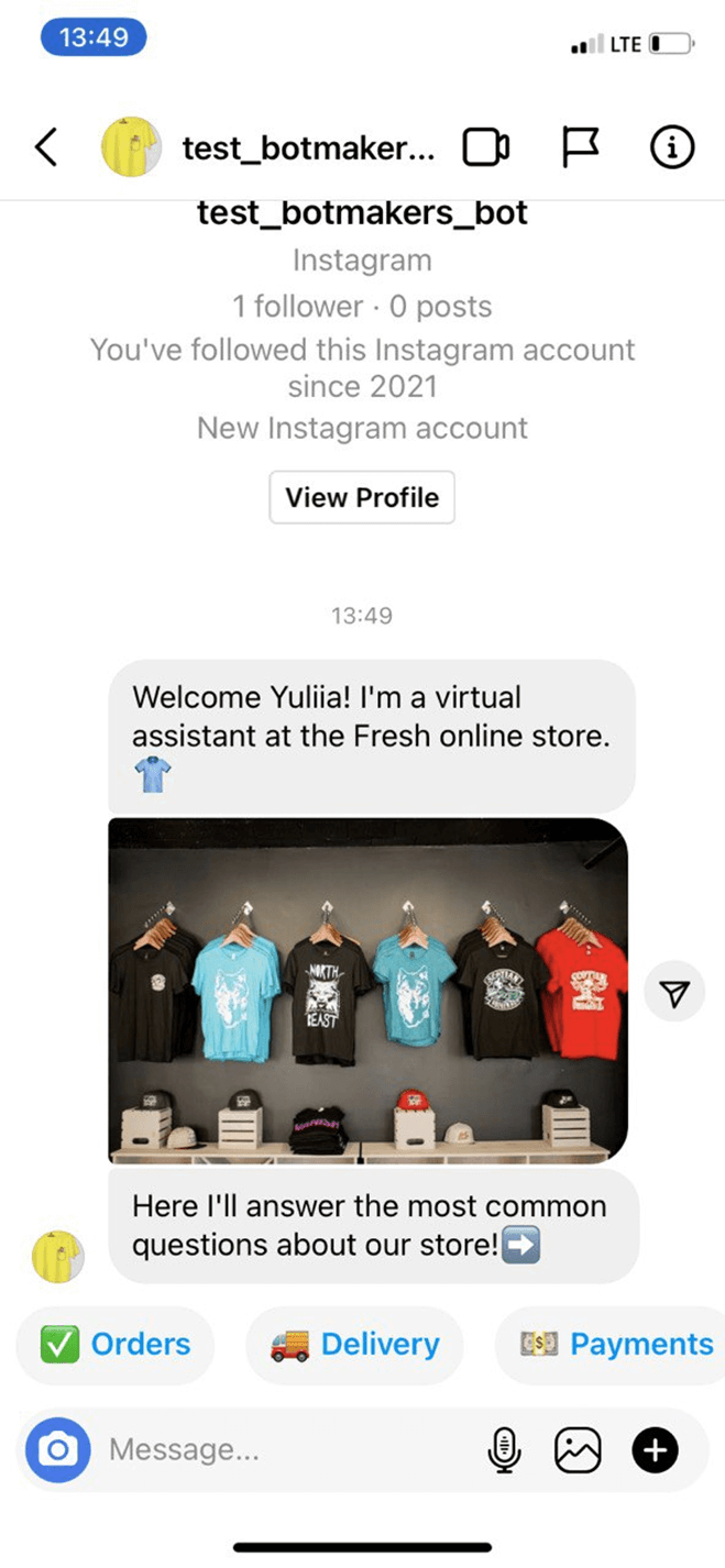 Instagram FAQ Bot For E-Commerce Stores bot screenshot