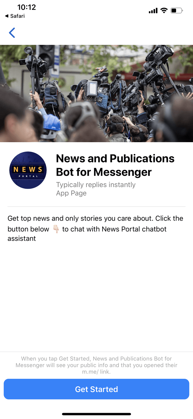 News and Publications Bot Template for Messenger