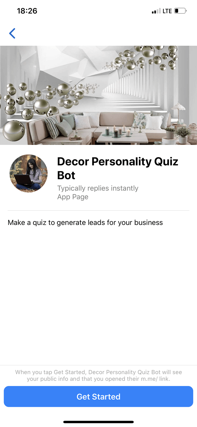 Decor personality quiz bot screenshot