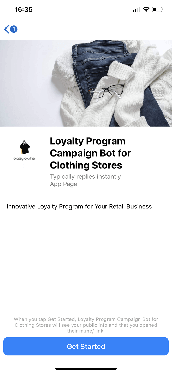 Loyalty Program Campaign bot screenshot