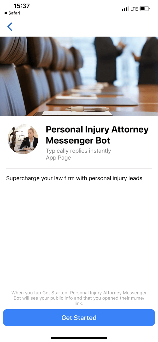 Personal Injury Attorney and Law Group Facebook Bot