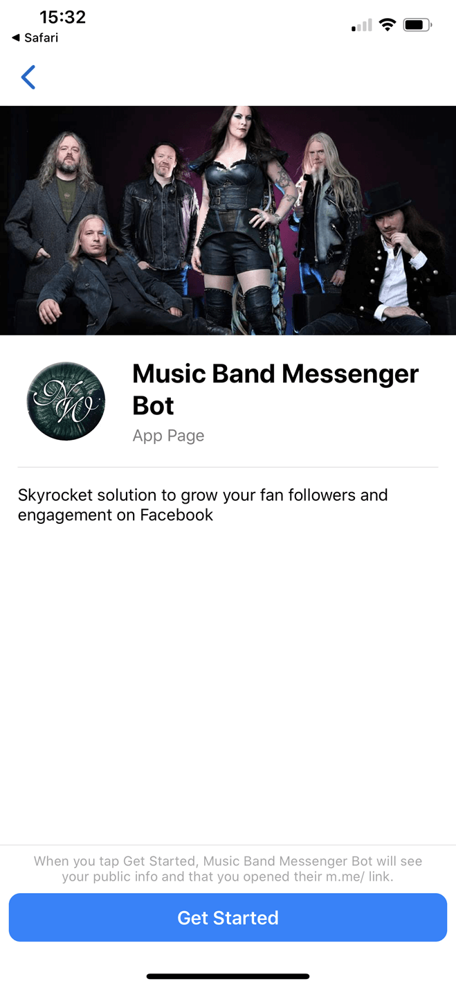 Music band Messenger bot screenshot
