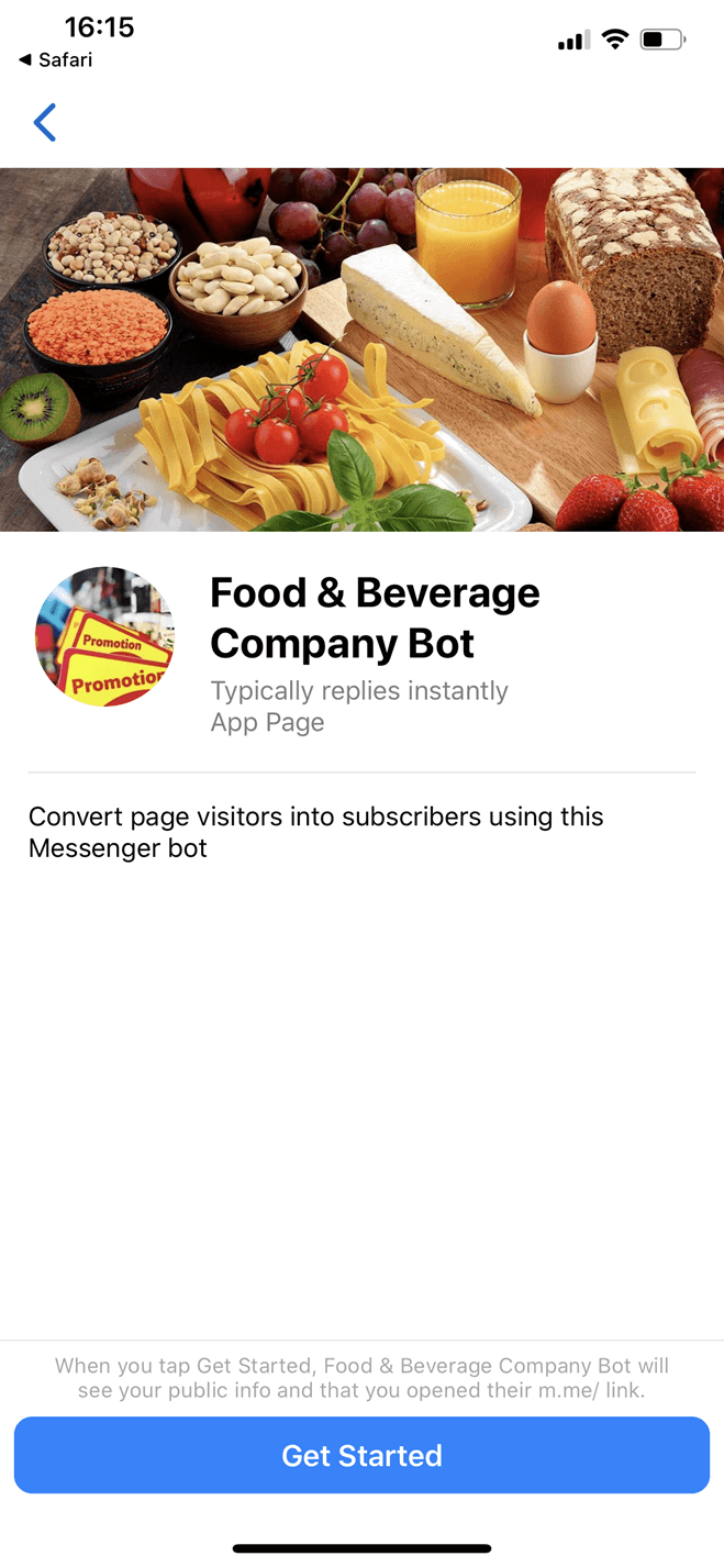 Food & Beverage Company Bot für Messenger