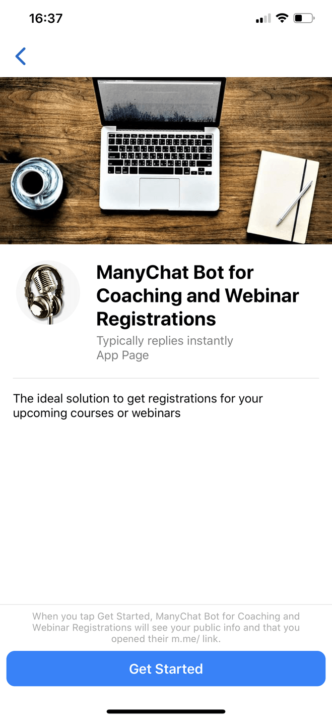 Bot para registro em webinar de coaching no Messenger