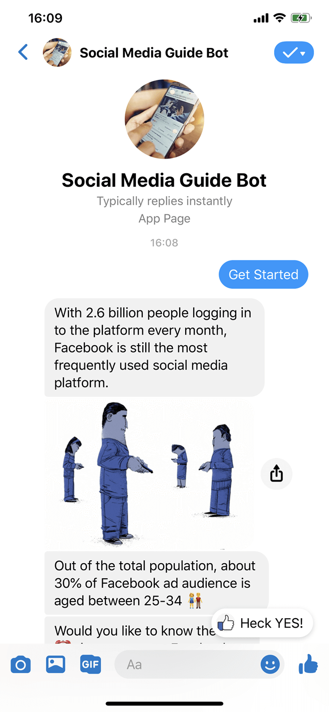 Facebook guide lead magnet Messenger bot screenshot